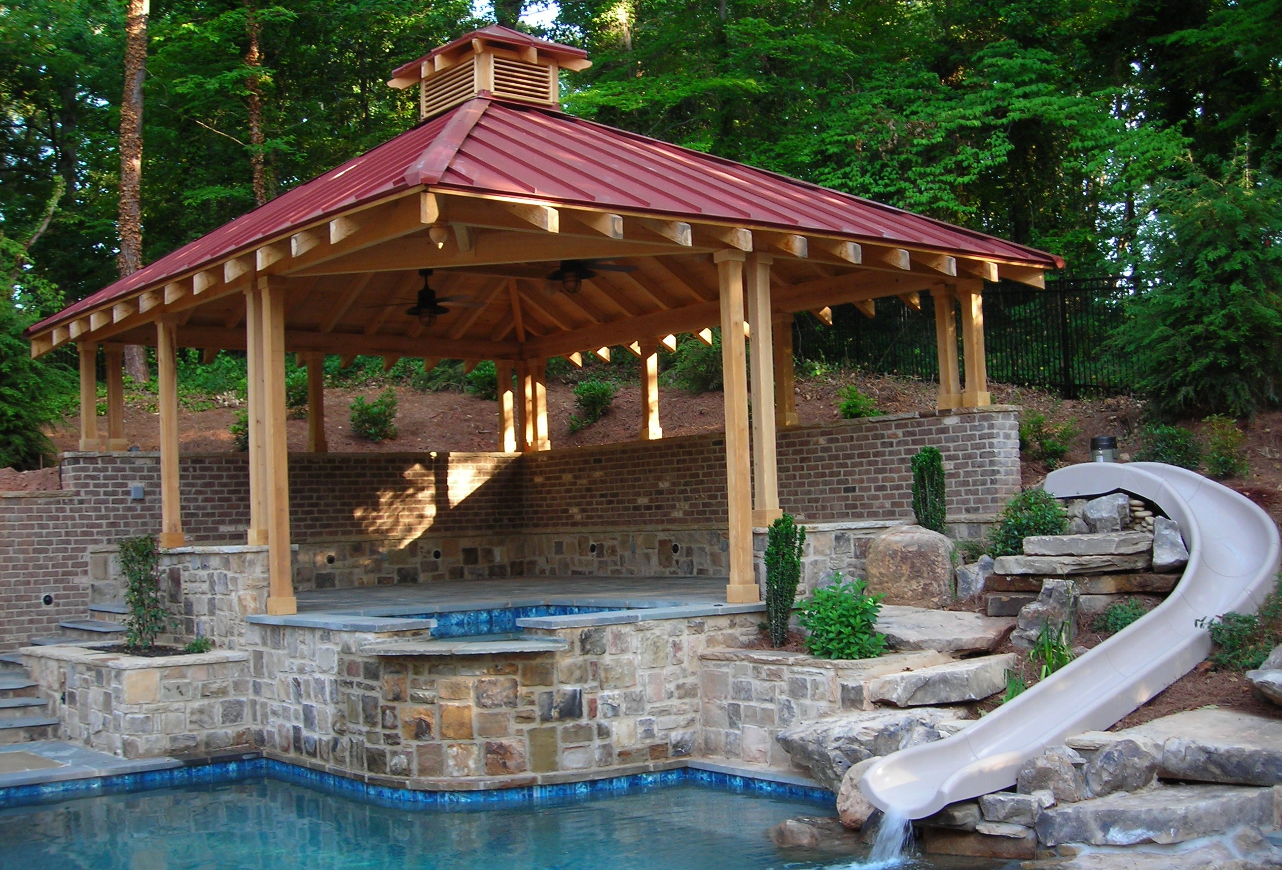 Woodwork wood gazebos pdf plans for Pool design with gazebo